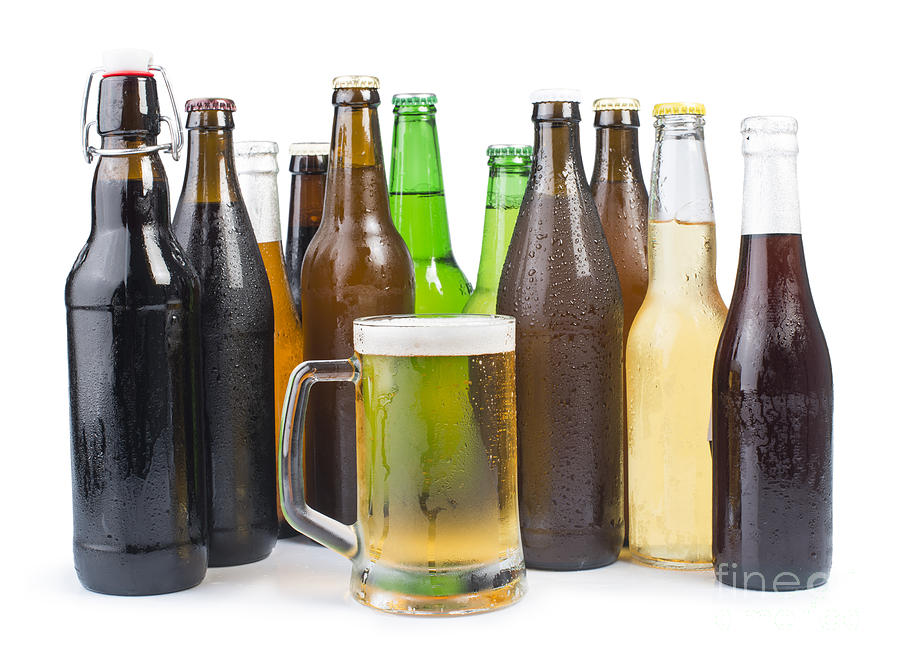 Alcohol Photograph - Bottles Of Beer And Beer Mug.  by Deyan Georgiev