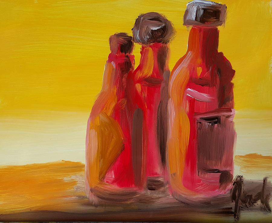 Still Life Painting - Bottles Of Hot Sauce by Steve Jorde