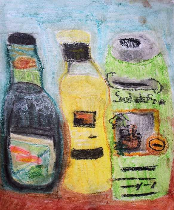 Bottles of Olive Oil Drawing by Annie Dameron