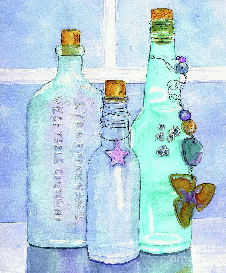 Bottles Painting - Bottles With Barnacles by Midge Pippel