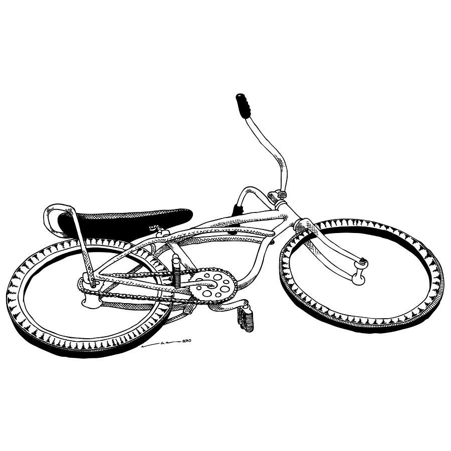 Drawing Drawing - Bottom Up Bike by Karl Addison