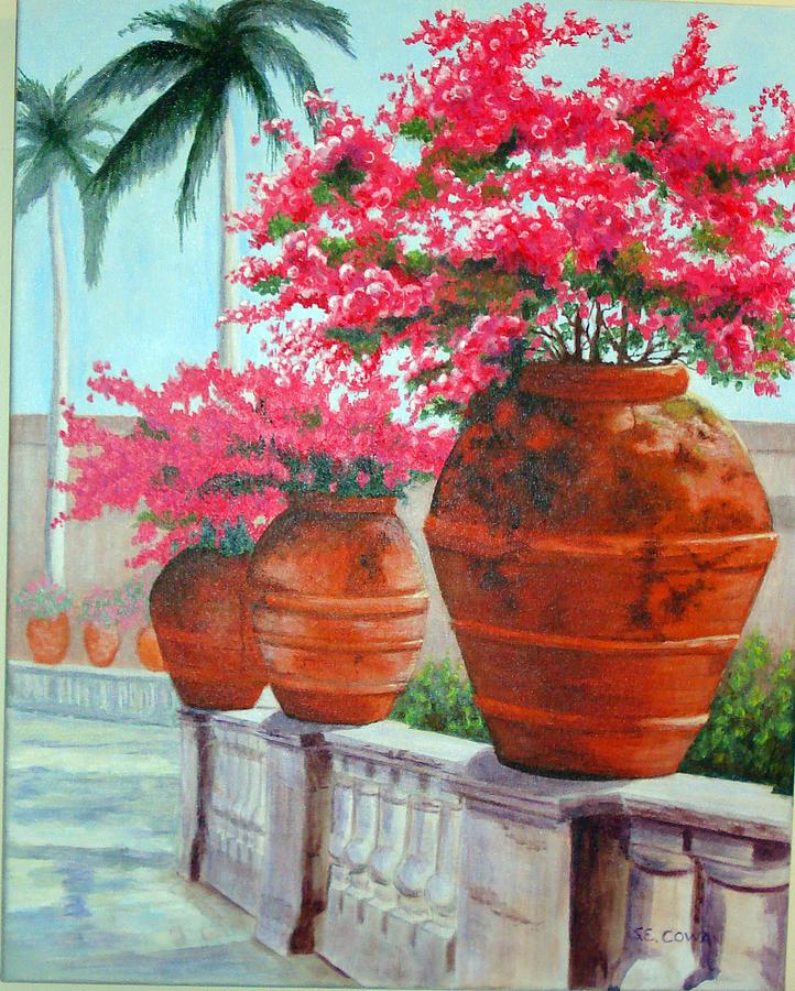 Landscape Painting - Bougainvillea Pots by SueEllen Cowan
