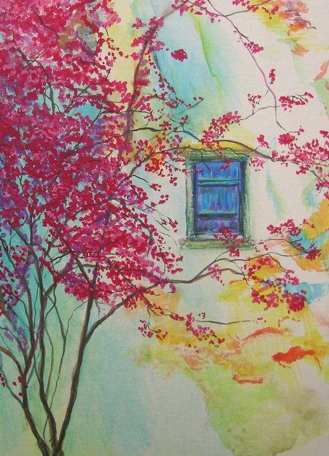 Flower Painting - Bouganvilla And Blue Shutter by Lizzy Forrester