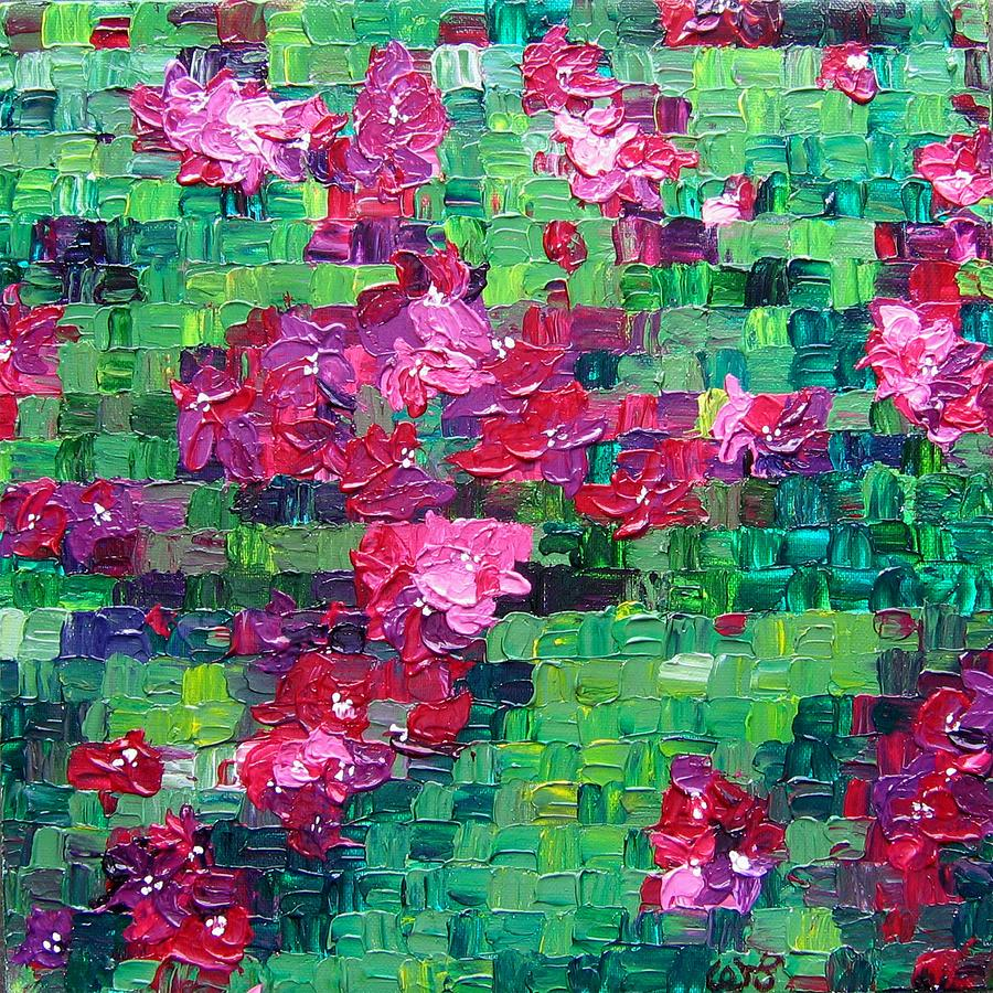 Floral Painting - Bouganvillea - Tiled by Wanda Pepin