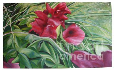 Flower Painting - Bougenville by Danarta Gondrong