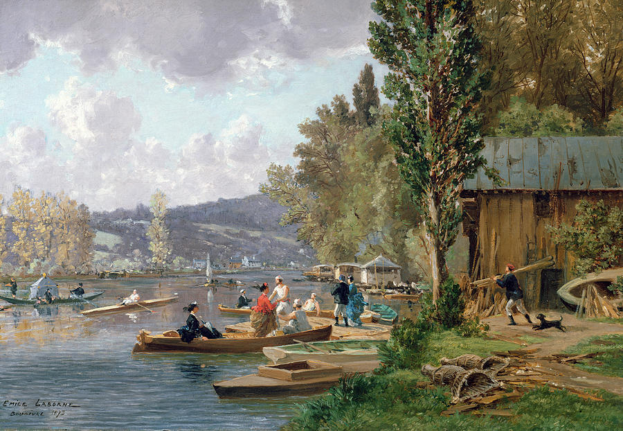 1873 Painting - Bougival by Emile-Edme Laborne