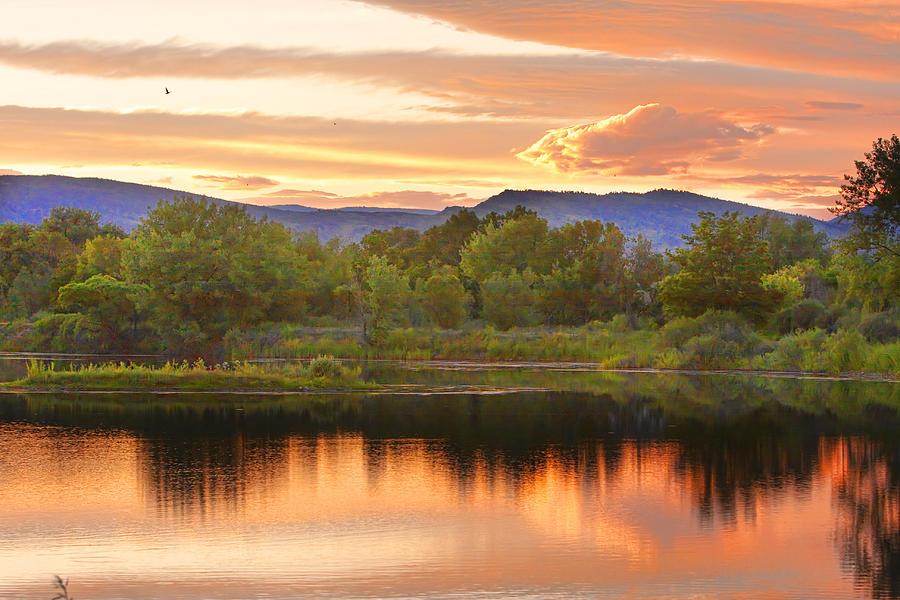 Sunsets Photograph - Boulder County Lake Sunset Landscape 06.26.2010 by James BO  Insogna