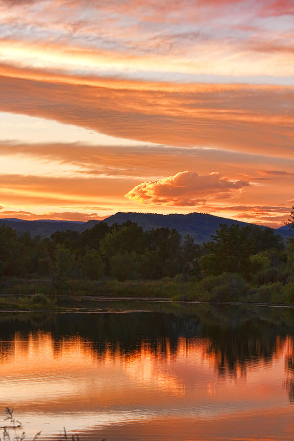 Nature Photography Photograph - Boulder County Lake Sunset Vertical Image 06.26.2010 by James BO  Insogna