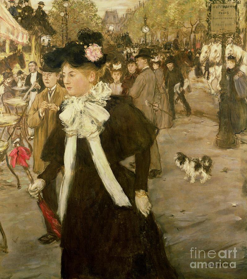 Boulevard Des Italiens By Jean Francois Raffaelli (1850-1924):boulevard Des Italiens99:crowd; Hat; Cafe; Carriage; Dog; Umbrella; Impressionist; Street Scene; Paris; France Painting - Boulevard Des Italiens  by Jean Francois Raffaelli