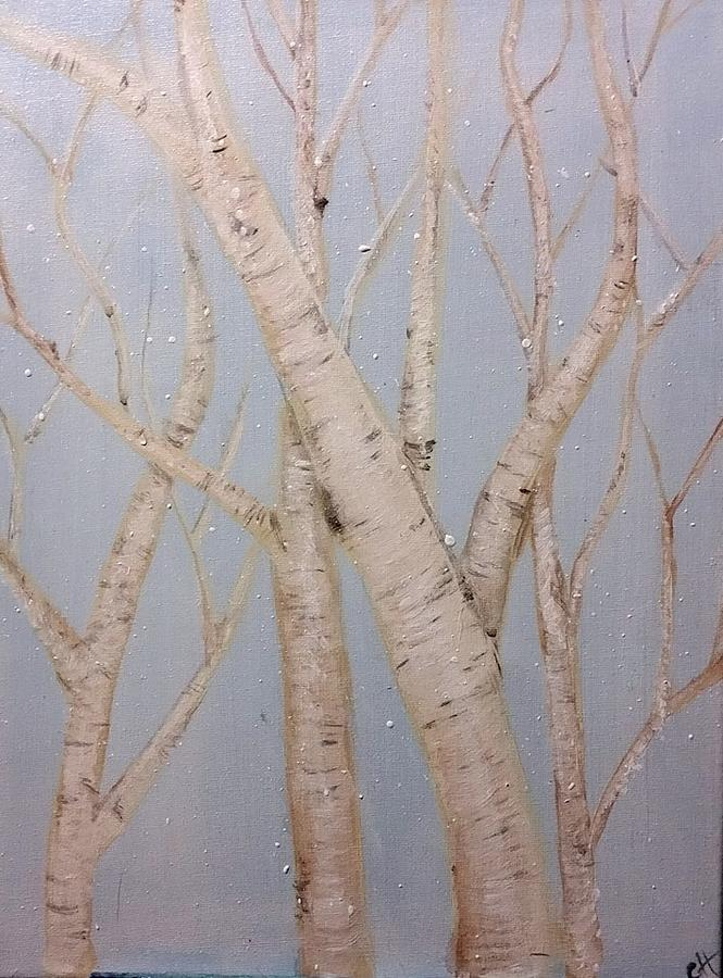 Paper Birch Painting - Boulots  by Carole Hutchison