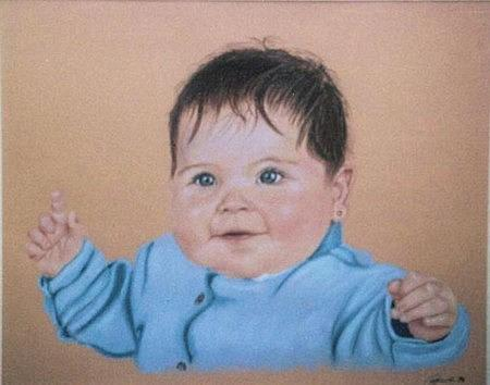 Child Pastel - Bouncing Baby by Frank Hamilton