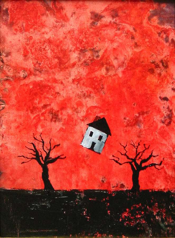 House Painting - Bouncing House Fiery Sky by Pauline Lim
