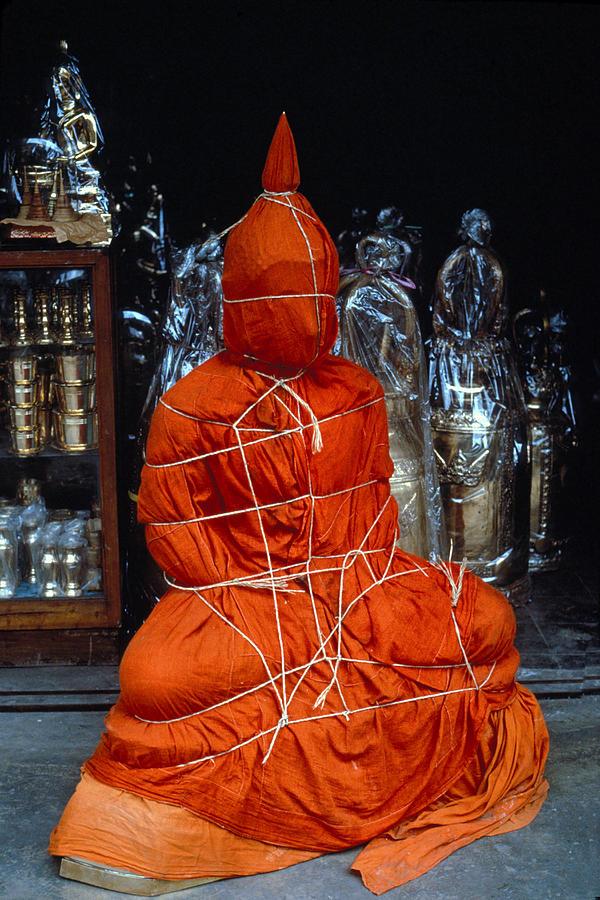 Orange Photograph - Bound Buddha by Carl Purcell