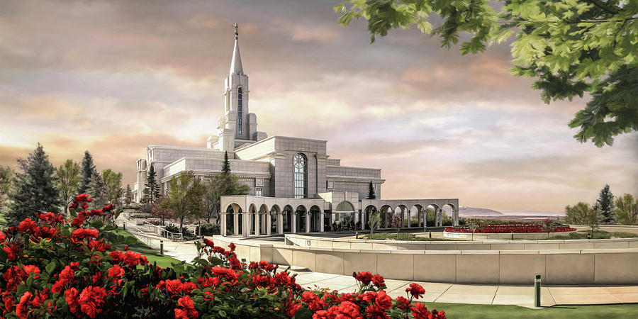 Bountiful Painting - Bountiful Temple by Brent Borup