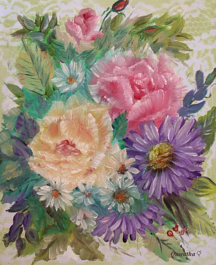 Rose Painting - Bouquet 2 by Quwatha Valentine