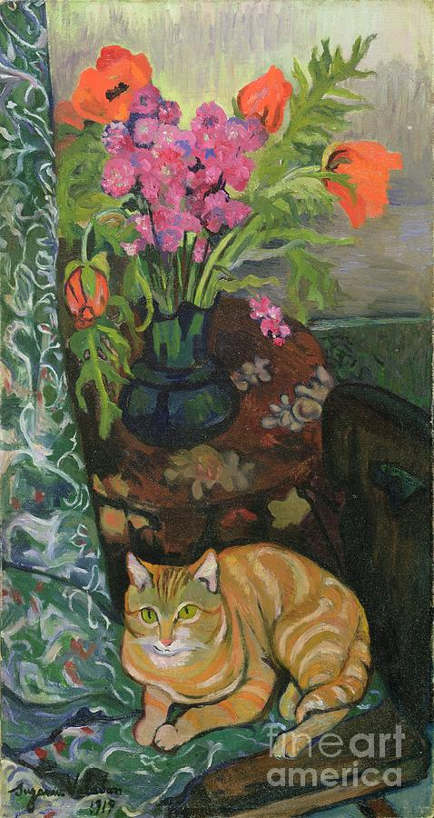 Bouquet Painting - Bouquet And A Cat by Marie Clementine Valadon