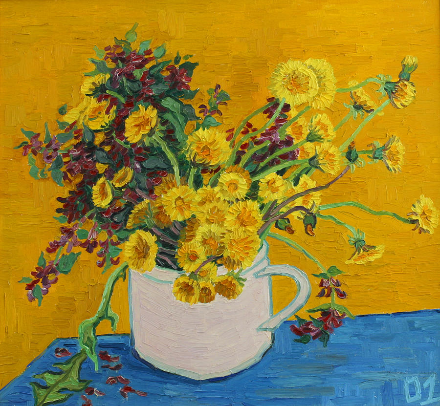 Flowers Painting - Bouquet of dandelions and wild flowers by Vitali Komarov
