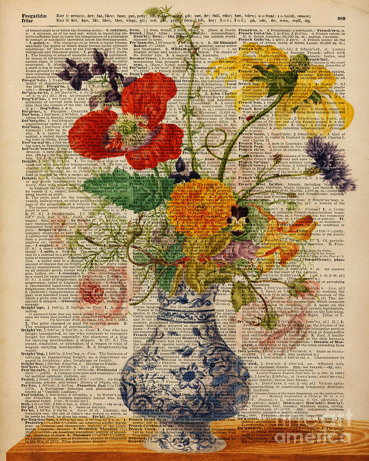 Vintage Painting - Bouquet Of Flowers Over Dictionary Page by Anna W