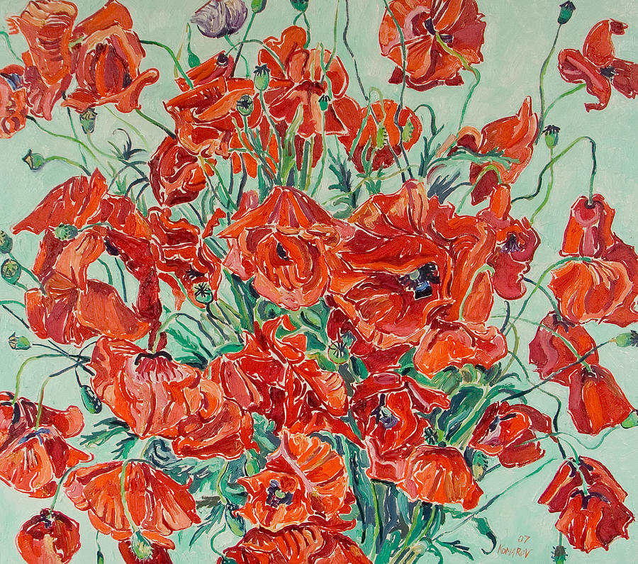 Bouquet Painting - Bouquet Of Red Poppies With Soft-blue Background by Vitali Komarov