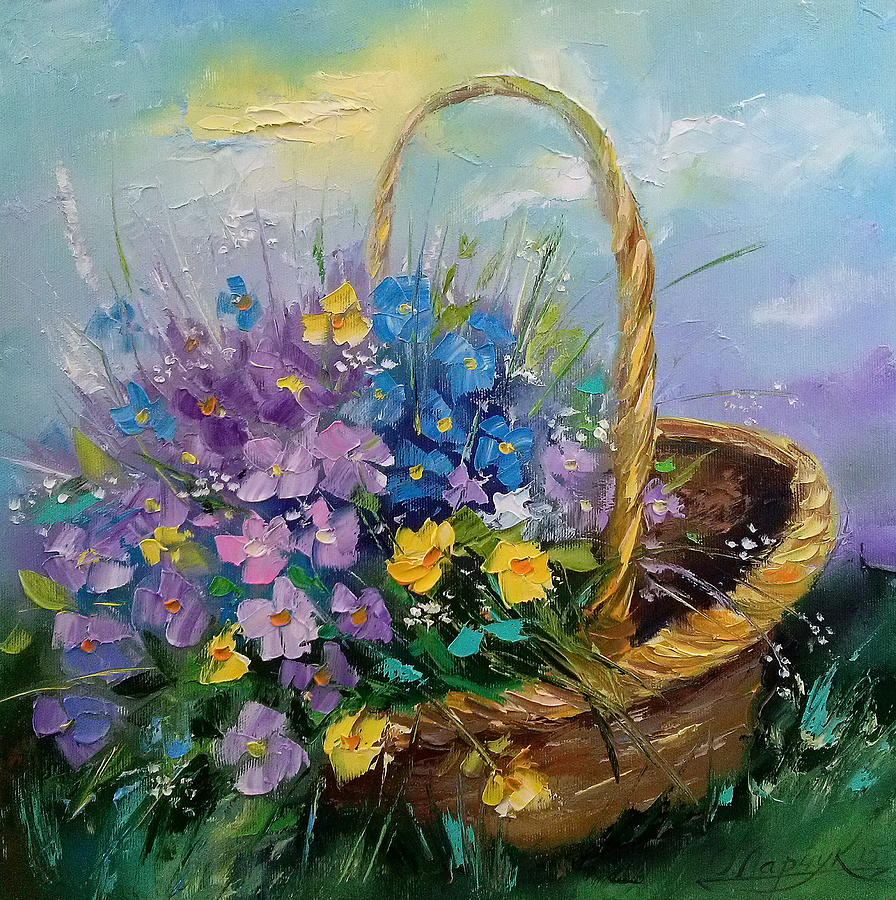Bouquet of wild flowers in a basket painting by olha darchuk oil on canvas painting bouquet of wild flowers in a basket by olha darchuk izmirmasajfo