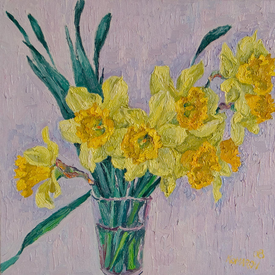Bouquet Painting - Bouquet Of Yellow Daffodils by Vitali Komarov
