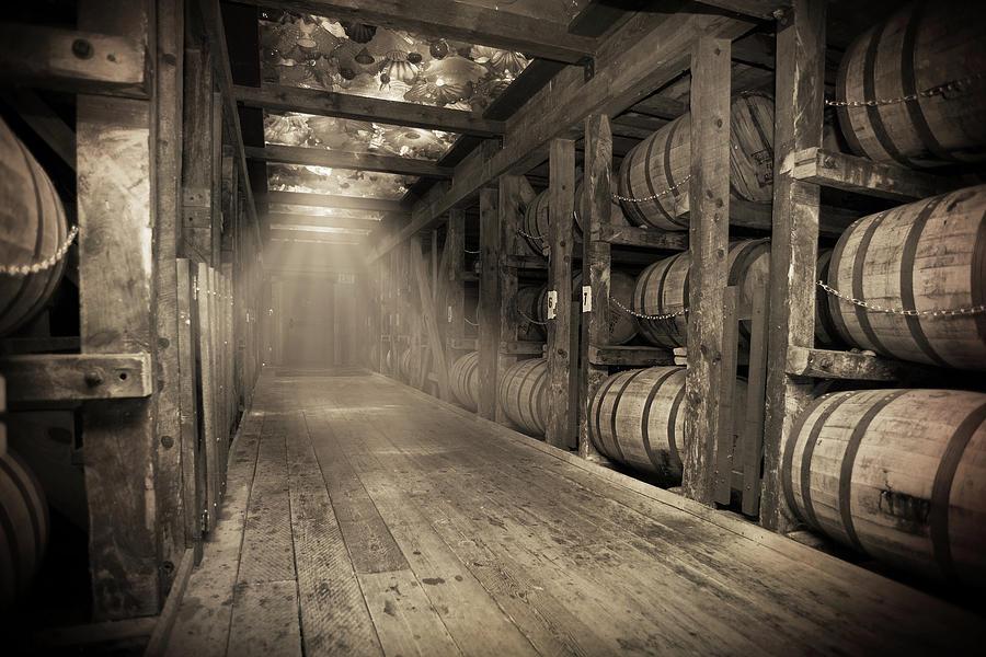 Bourbon Barrel Photograph - Bourbon Barrels by Glass Glow by Karen Varnas