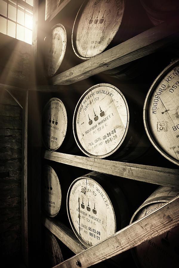 Bourbon Barrel Photograph - Bourbon Barrels by Window Light by Karen Varnas