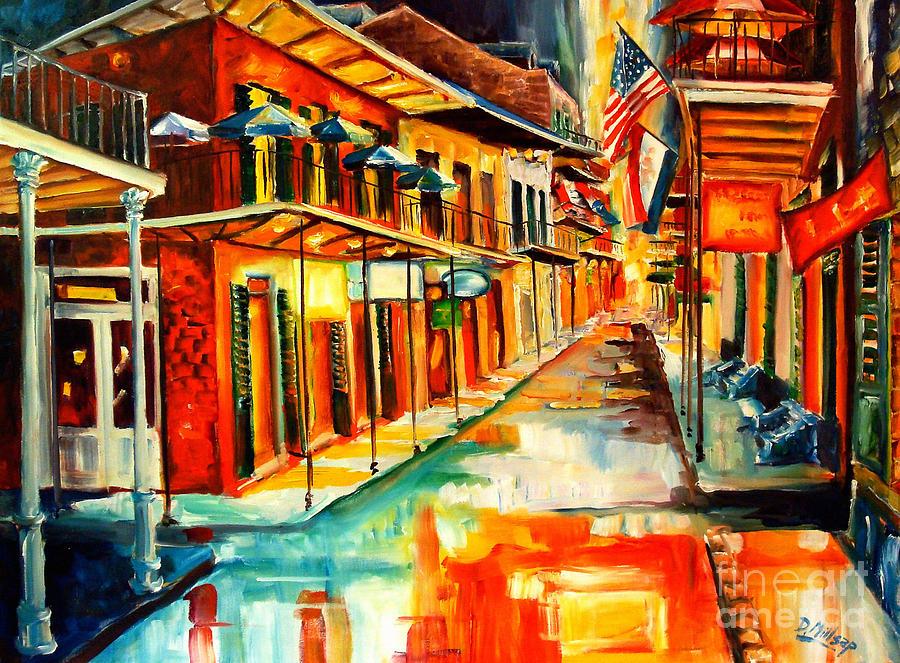 New Orleans Painting - Bourbon Street Blitz by Diane Millsap