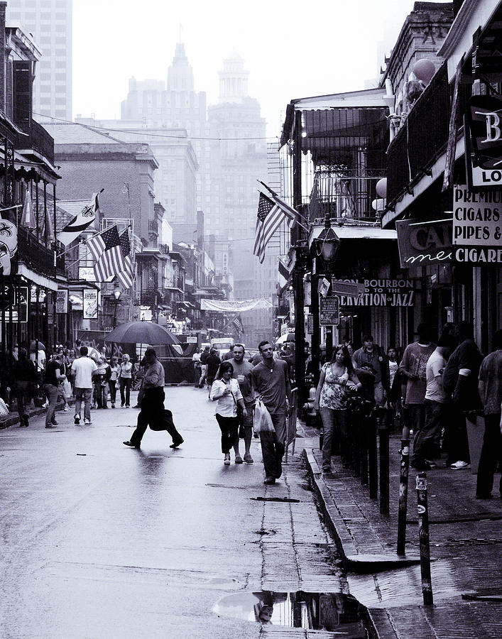 New Orleans Photograph - Bourbon Street In The Rain by Ray Devlin
