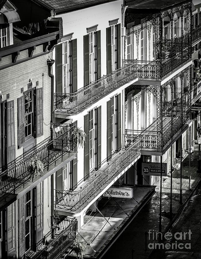 Bourbon Photograph - Bourbon Street Morning-bw-nola by Kathleen K Parker