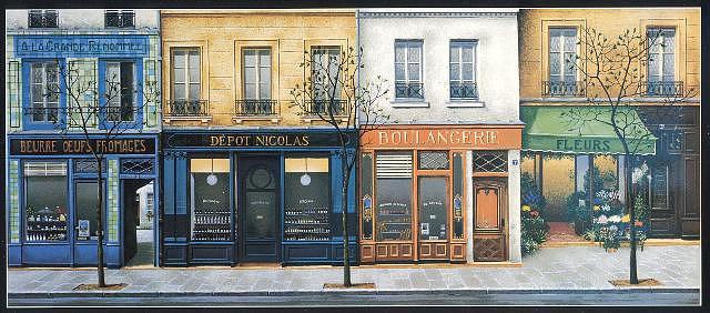 Boutique a Paris Painting by Andre Renoux