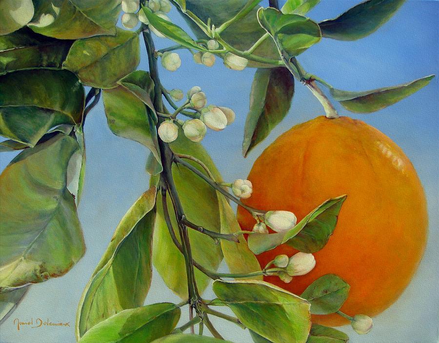 Floral Painting - Boutons d Oranges by Muriel Dolemieux