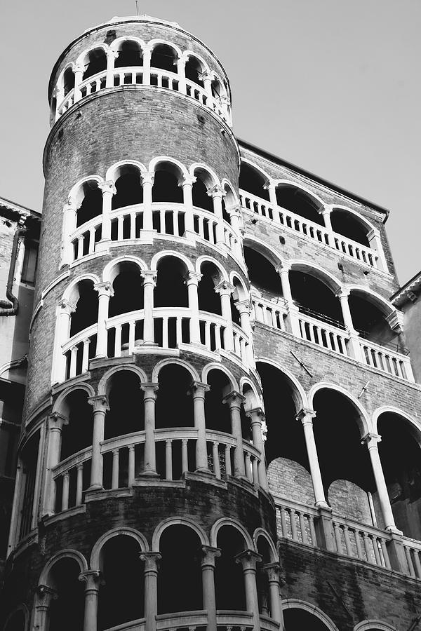 Venice Photograph - Bovolo Staircase In Venice Black And White by Michael Henderson