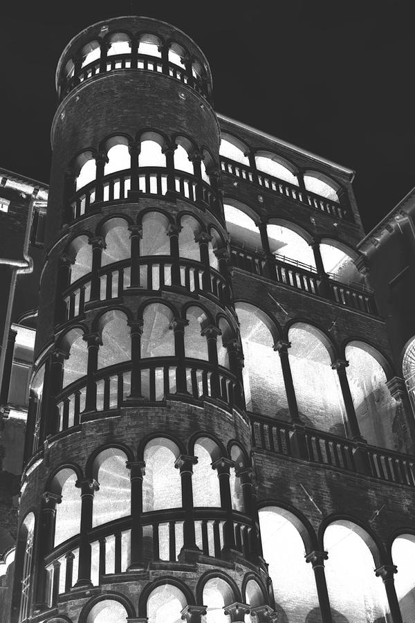 Venice Photograph - Bovolo Staircase In Venice In Negative by Michael Henderson