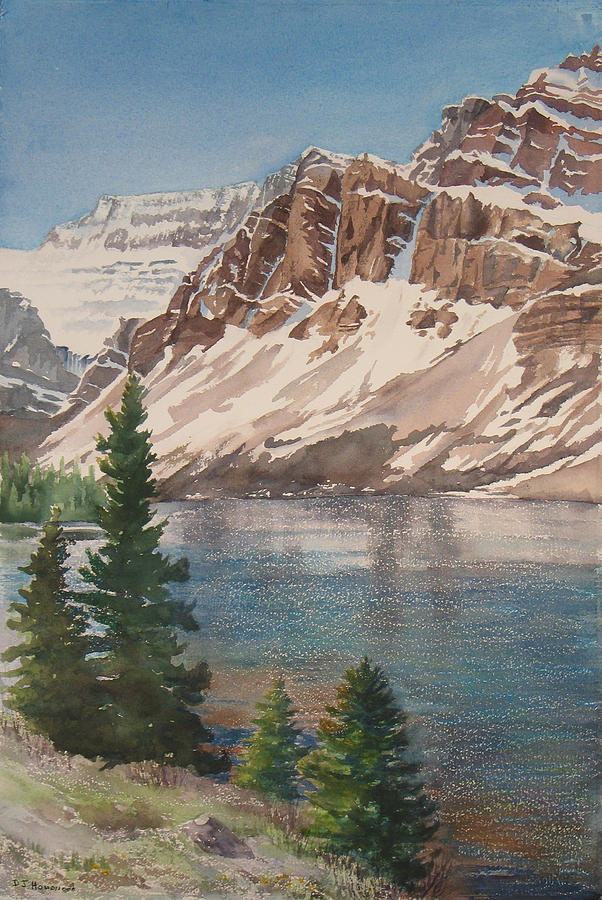 Bow Lake Painting - Bow Lake Alberta by Debbie Homewood