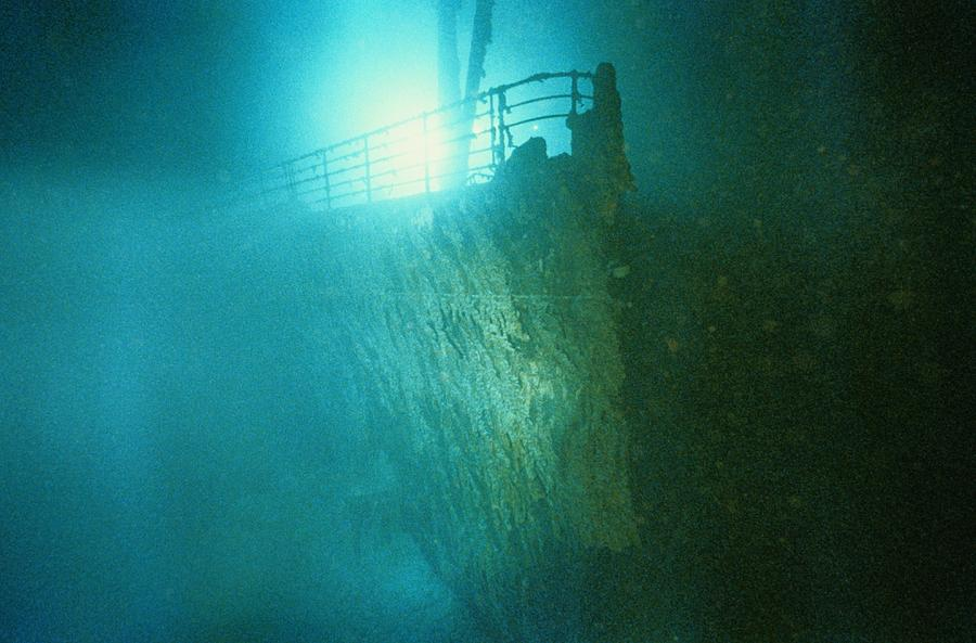 Ship Photograph - Bow Railing Of R.m.s. Titanic by Emory Kristof