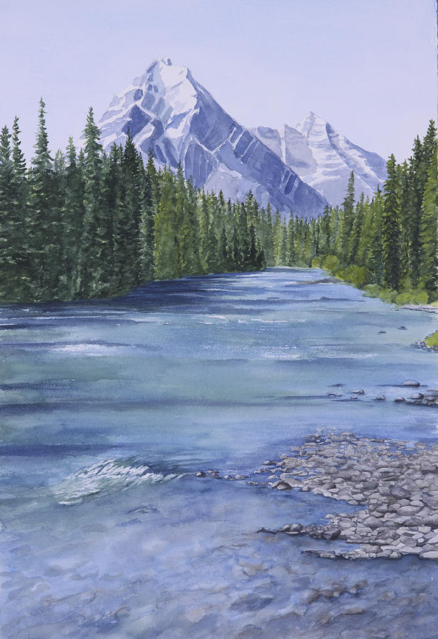 Bow River Painting - Bow River by Debbie Homewood