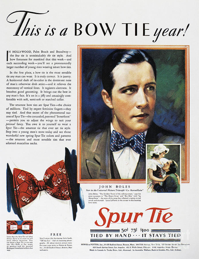 Bow Tie Advertisement 1930 Photograph By Granger