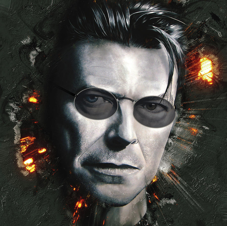 David Bowie Digital Art - Bowie With Glasses by Shaun Poole