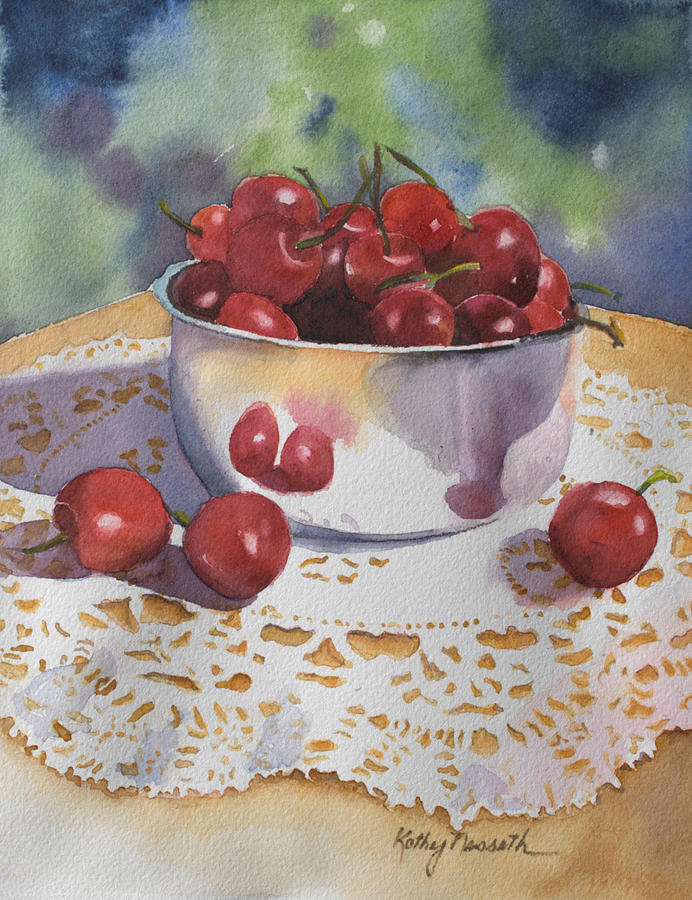 Fruit Painting - Bowl Of Cherries by Kathy Nesseth