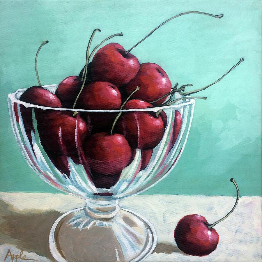 Cherries Painting - Bowl Of Cherries by Linda Apple