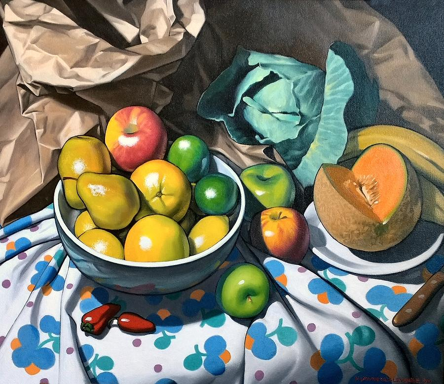 Still Life Painting Painting - Bowl Of Friut by Kevin Lawrence Leveque