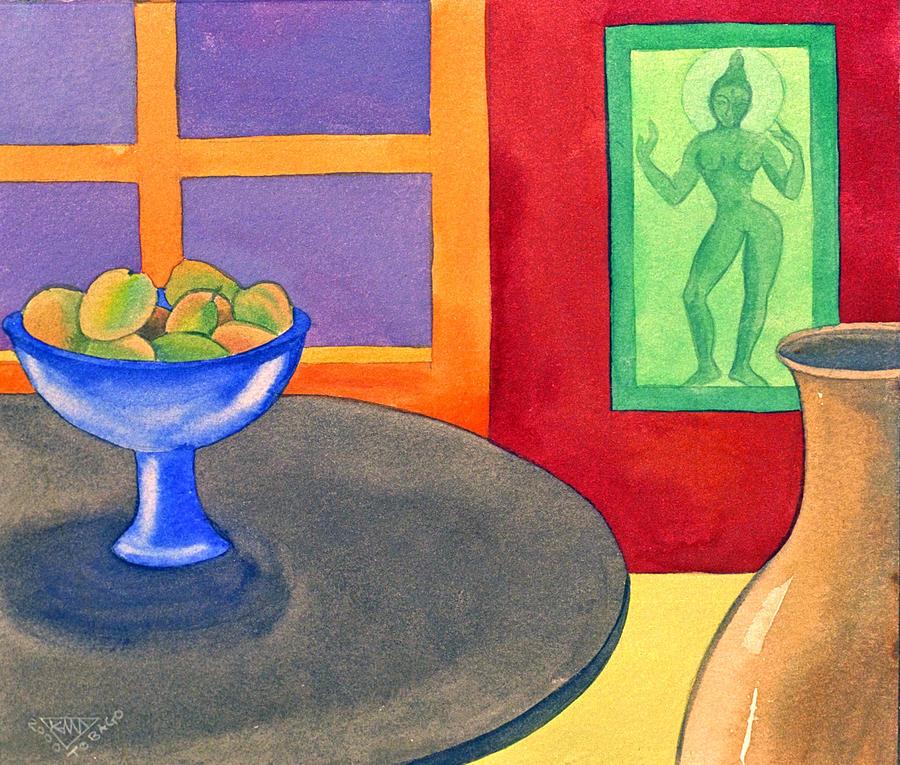 Interior Still Life Indian Deity Painting - Bowl Of Mangoes by Jennifer Baird