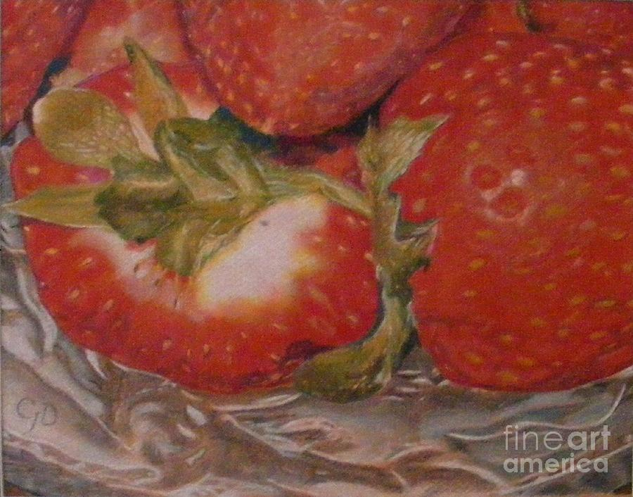 Fruit Drawing - Bowl Of Strawberries by Crispin  Delgado