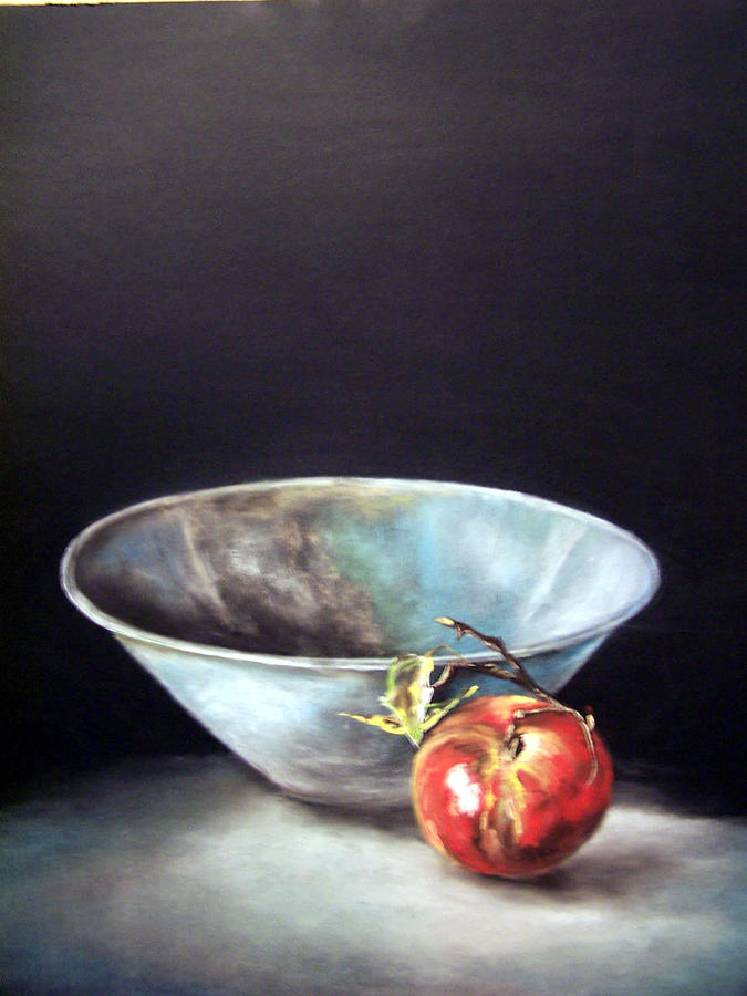 Stilllife Painting - Bowl With Apple by Dick Stolp
