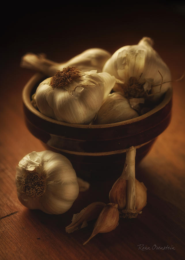 Food Photograph - Bowl With Garlic by Ronn Orenstein