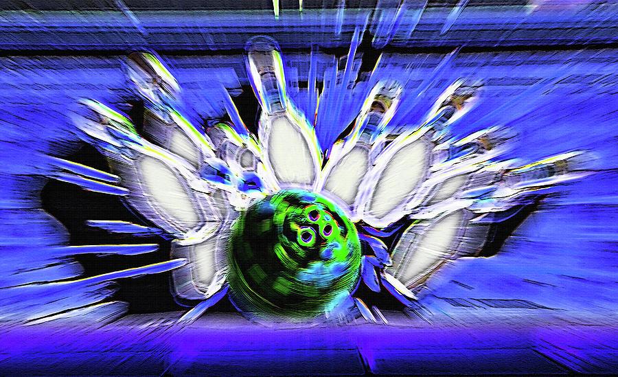 Bowl Photograph - Bowling Sign - Strike by Steve Ohlsen