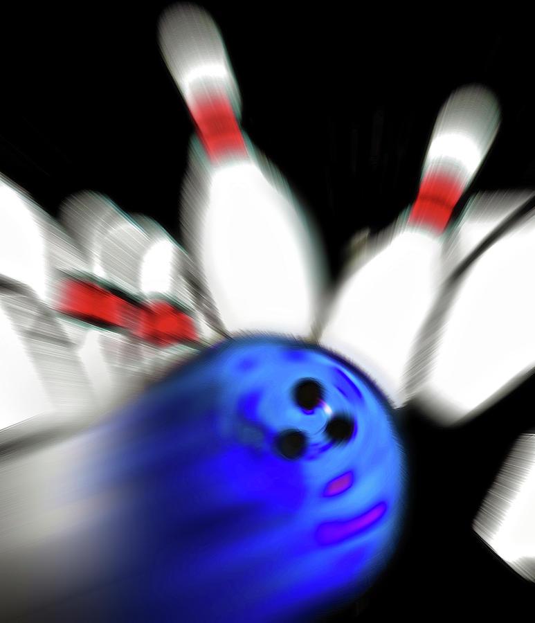 Bowl Photograph - Bowling Sign 2 - Strike  by Steve Ohlsen