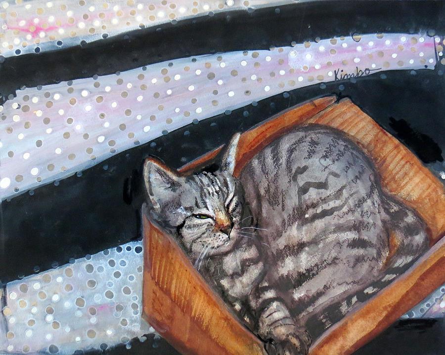 Cat Painting - Box Cat by Kimbo Jackson