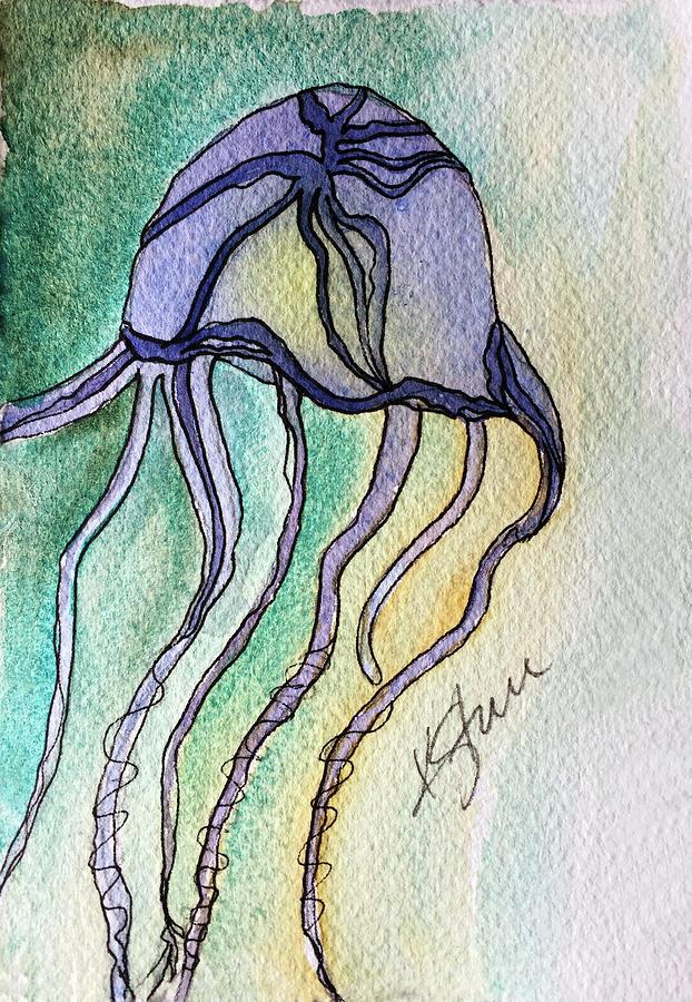 Box Jellyfish Painting - Box Jellyfish by Kathy Sturr